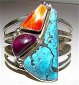 Navajo Adam Fierro Sterling Turquoise Spiny Oyster