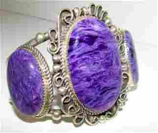 Navajo Sterling Purple Charoite Statement Bracelet