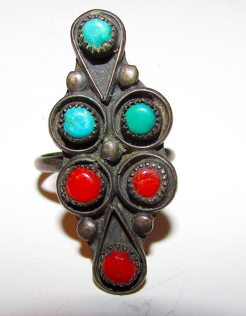 Old Pawn Zuni Sterling Coral Ring