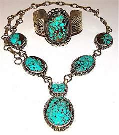 Navajo Adam Fierro Sterling #8 Turquoise Set