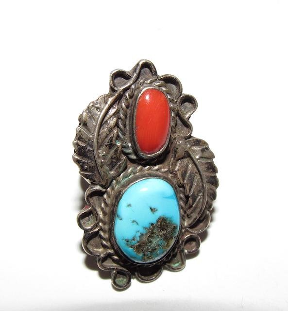 Old Pawn Navajo Sterling Turquoise Coral Ring