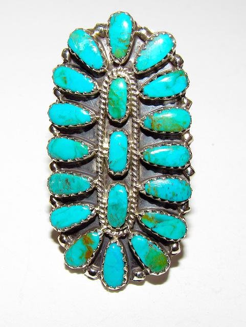 Navajo Sterling Turquoise Cluster Ring Sz. 7.5