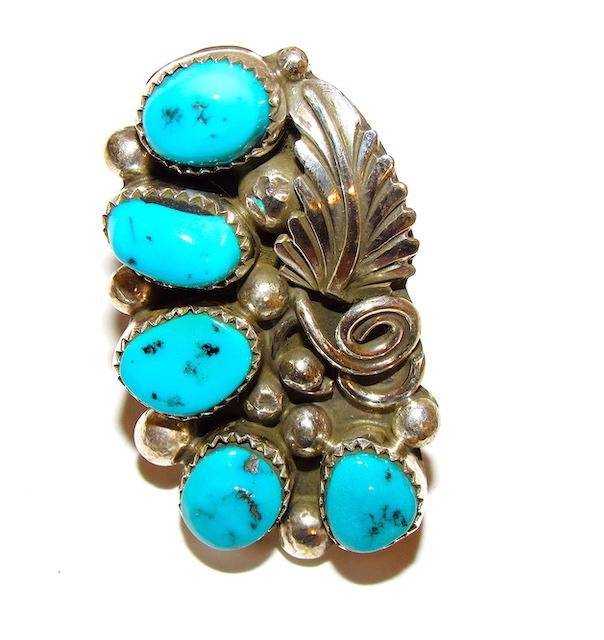 Navajo Sterling Turquoise Statement Ring Size 9