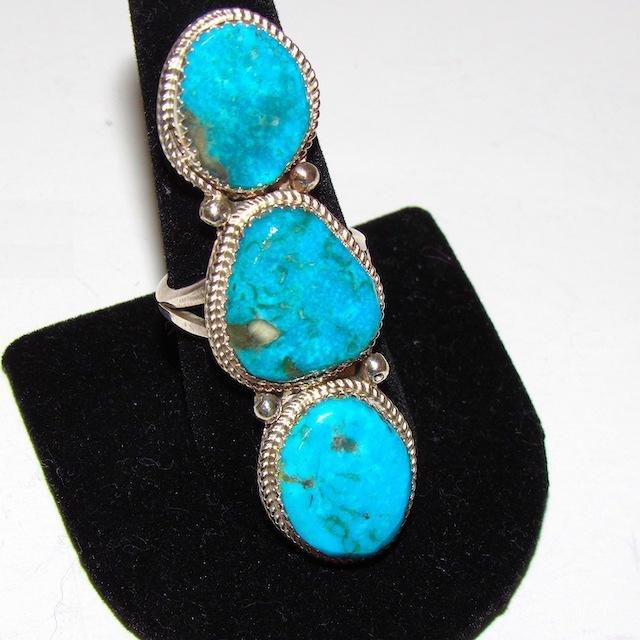 Navajo Sterling Kingman Turquoise Ring  Size 9.5