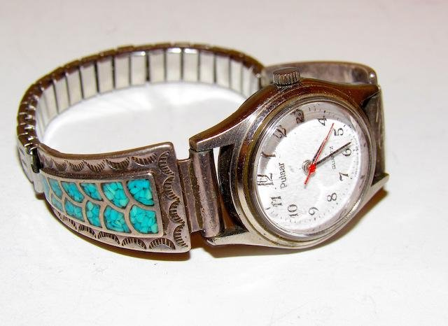Old Pawn Navajo Sterling Turquoise Watch