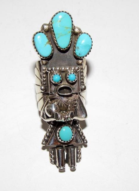 Navajo Sterling Turquoise Kachina Ring Sz. 8