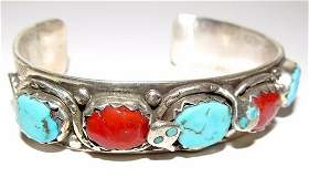 Zuni Effie Calavaza Sterling Turquoise Coral Snake Cuff
