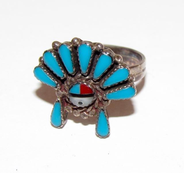 Old Pawn Zuni Sunface Kachina Ring Sz. 7.5