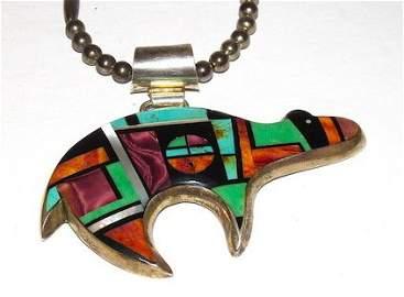 Navajo FRANK YELLOWHORSE Inlay Bear Pendant Necklace