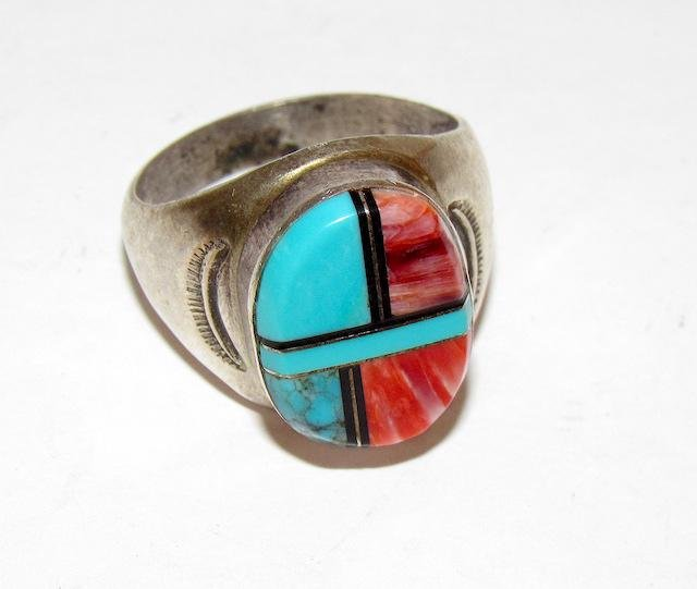 Old Pawn Navajo Sterling Stone Inlay Ring Sz. 10.5