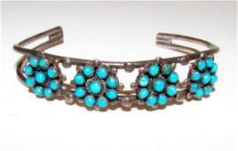 Old Pawn Zuni Sterling Turquoise Snake Eye Bracelet