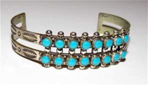 Old Pawn Zuni Sterling Snake Eye Cuff Bracelet