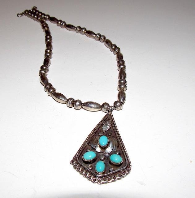 Old Pawn Navajo Sterling Turquoise Necklace