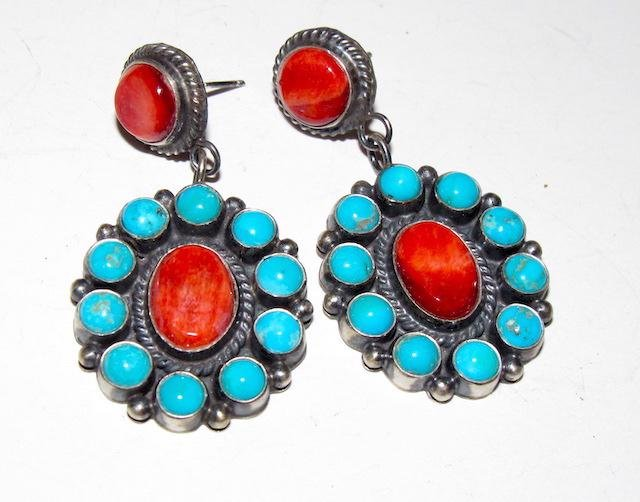 Navajo Sterling Turquoise Spily Oyster Earrings Anthony