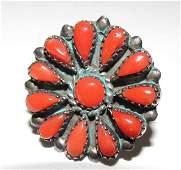 Vintage Navajo Sterling Coral Statement Ring