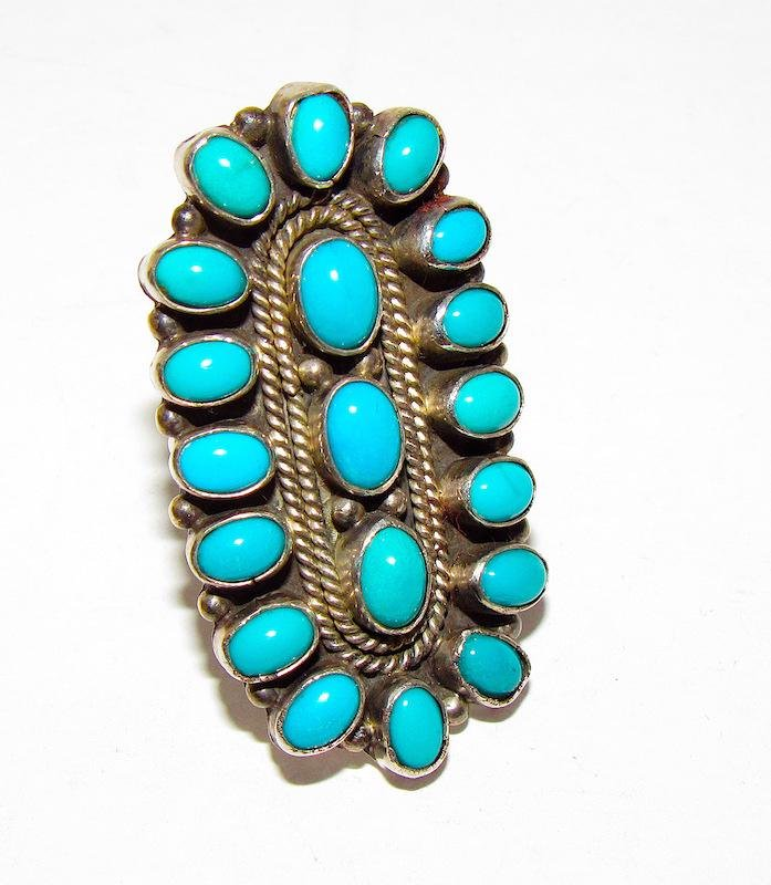 Old Pawn Navajo Sterling Turquoise Ring Sz. 5.5