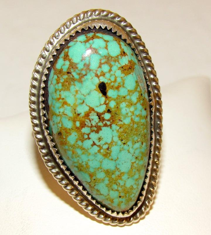 Navajo Statement *8 Turquoise Ring Sz. 13.5