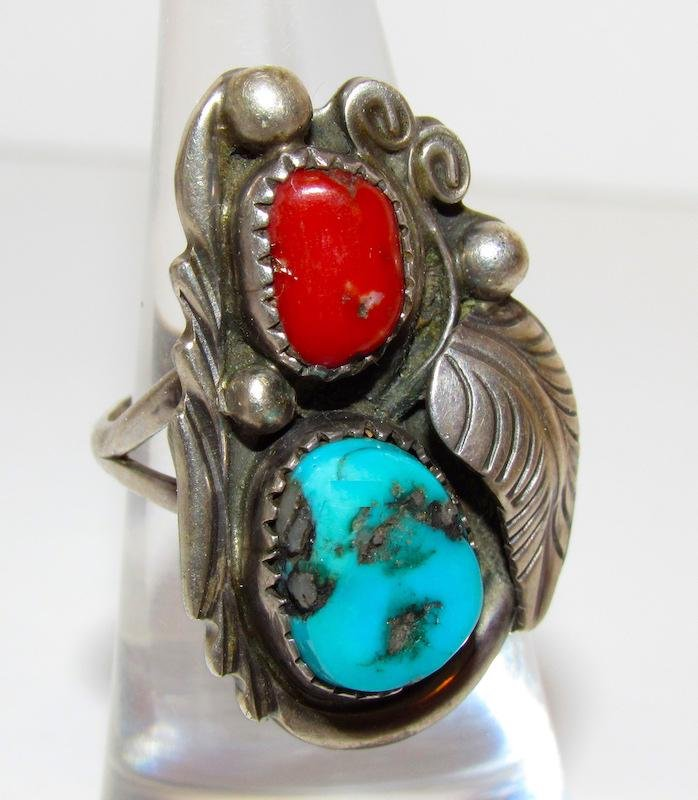 Old Pawn Navajo Sterling Turquoise Coral Ring Sz. 6