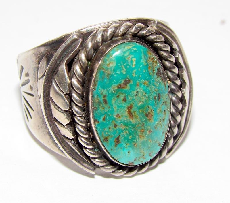 Old Pawn Navajo Sterling Turquosie Ring Sz. 11