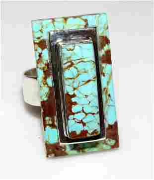 Navajo Number 8 Turquoise Ring Size 6.5 Sterling by L.
