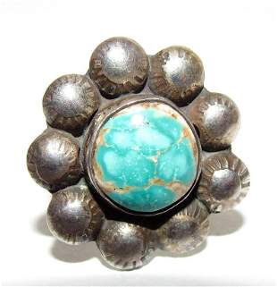 Navajo Rose Draper Turquoise Statement Ring Size 8