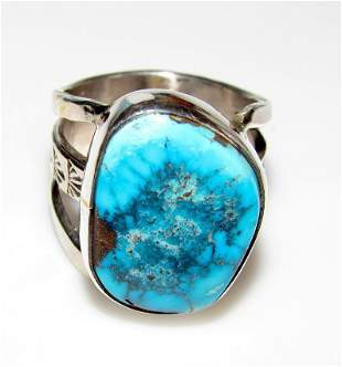 Native American Kingman Turquoise Ring Size 7 Sterling