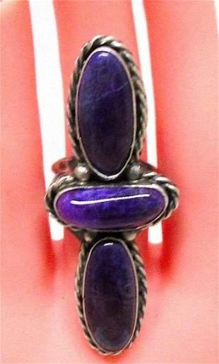 Navajo Sugilite Ring Size 8 Sterling Silver Statement
