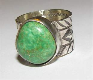 Native American Sonoran Gold Turquoise Ring Size 7.5