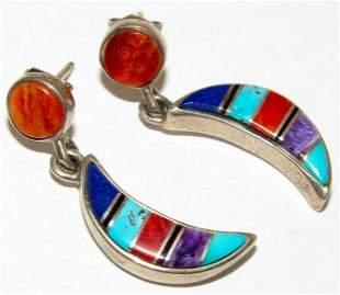 Navajo TSF Channel Inlay Moon Earrings Vintage Sterling