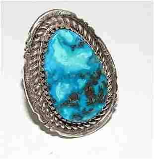 Navajo Turquoise Ring Size 10.5 Sterling Silver White