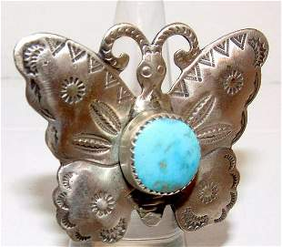 Vintage Navajo Butterfly Ring Size 8 Sterling Silver