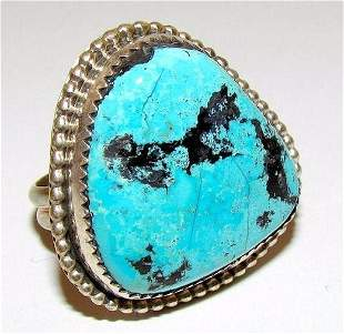 Vintage Navajo Turquoise Ring Size 9.5 Sterling Silver
