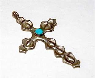 Vintage Navajo Sterling Silver Turquoise Cross Pendant