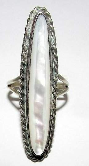 Vintage Navajo Sterling Silver MOP Mother of Pearl
