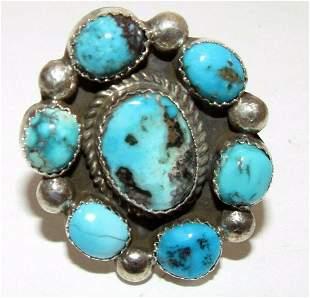 Vintage Navajo Sterling Silver Turquoise Cluster