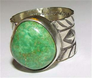 Native American Sonoran Gold Turquoise Ring Size 8.5