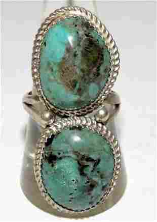 Signed Navajo Crow Spring Turquoise Ring Size 9