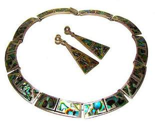 VTG Taxco Necklace Earrings Set Sterling Silver Abalone
