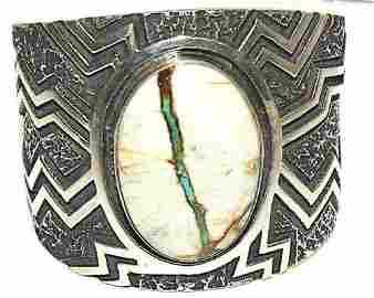 Huge Navajo Kevin Yazzie Cuff Bracelet Tufa Cast