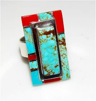 Navajo Number 8 Turquoise Coral Ring Sz 9.5 Sterling L.