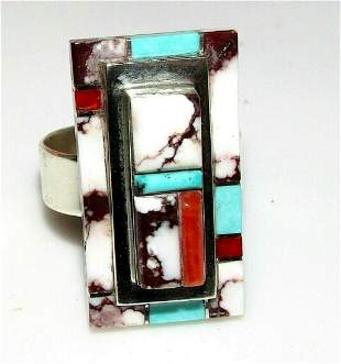 Navajo Number 8 Turquoise White Buffalo Coral Ring Sz