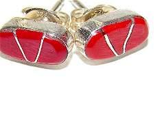 Zuni Coral Inlay Post Earrings Native American Vintage