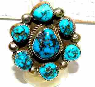 Navajo Turquoise Cluster Ring Sz 8 Sterling Kingman
