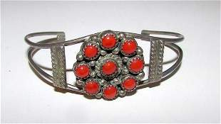 Vintage Zuni Coral Snake Eye Cuff Bracelet