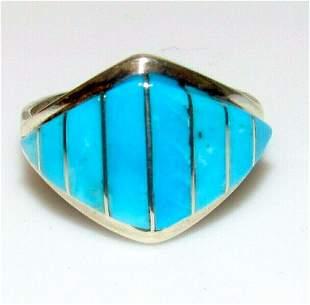 Zuni Inlay Ring Sz 8 Sterling Silver Sleeping Beauty