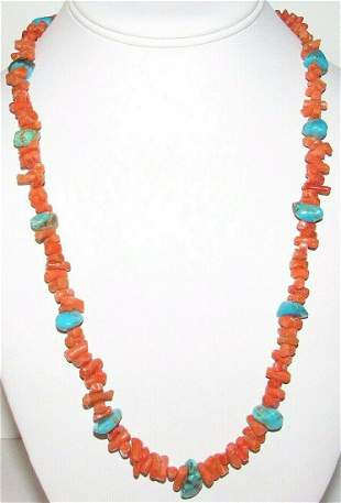 Vintage Navajo Coral Turquoise Heishi Necklace Sterling