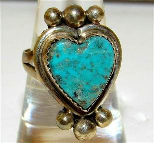 Navajo Turquoise Heart Ring Sterling Size 8 by Etsitty