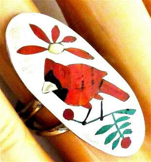 Zuni Inlay Cardinal Size 6.5 Ring Signed by Quentin
