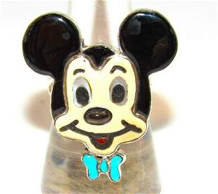 Zuni Mickey Mouse Sterling Inlay Ring Sz. 8 Zuni Toons