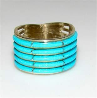 Zuni Inlay Ring Sz 6.5 Sterling Silver Sleeping Beauty